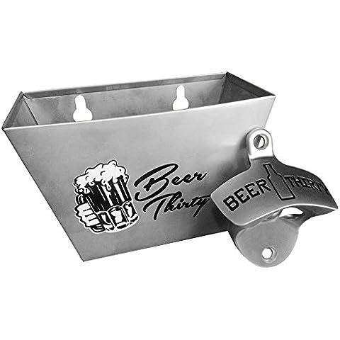 barware Gear: Bundle–2Artículos: montado en la pared cerveza Treinta Abridor de botellas con tapa de acero inoxidable a juego Catcher. Ambos son y duradera moderna con el diseño
