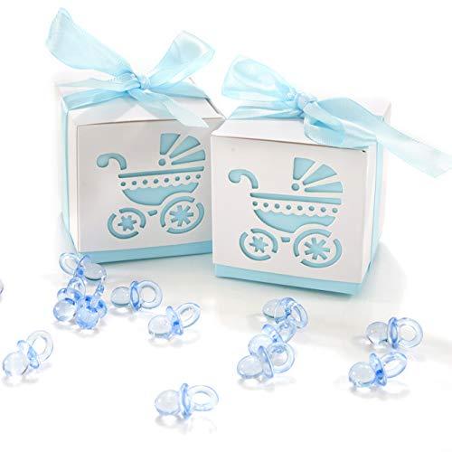QILICZ 50 STK. Gastgeschenk Süßigkeiten Schachtel mit 50 Mini Dekoschnuller, Kinderwagen Muster Candy Box für Baby Junge Geburtstag Taufe Neugeborenen Babyparty Shower Konfirmation Kommunion (Niedlichen Hochzeit Bevorzugungen)