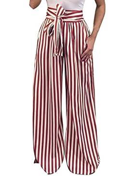 Elecenty Pantaloni casual Donna Pantaloni a vita alta elastico da donna con fasciatura strisce da donna