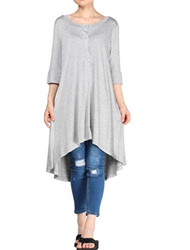 Vogstyle Damen V-Ausschnitt Casual Tunika T-Shirt Tee Mini Kleid Hellgrau