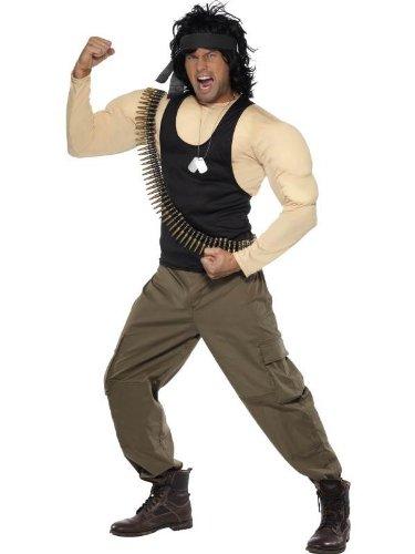 Rambo Kostüm Muskeln Top, Hose, Perücke Schal Punkt-Gurt & Dog Tags