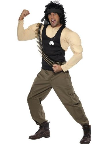 Rambo Kostüm Muskeln Top, Hose, Perücke Schal Punkt-Gurt & Dog Tags (Kinder Rambo Halloween Kostüm)