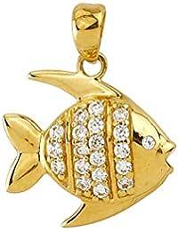 Goldanhänger Fisch 585 Gold 14Karat Kettenanhänger Sternzeichen Schmuck 3188