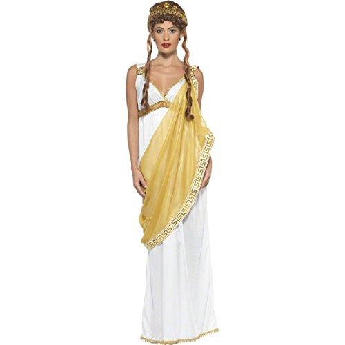 NET TOYS Helena von Troja Kostüm Griechin Römerin Weiß und Gold S 36/38 Sparta Kostüm Göttinkostüm Antikes Damenkostüm
