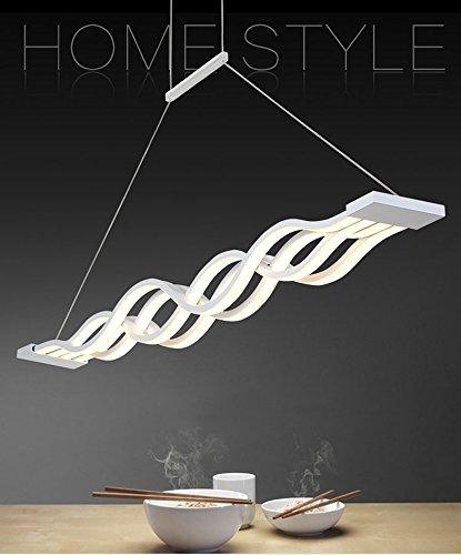 Moderne 4-licht Pendelleuchten (Moderne Welle LED-Pendelleuchte Deckenleuchter Licht-LED hängende Leuchte für moderne Wohnzimmer Schlafzimmer Esszimmer 72W Cool White(6000-6500)100 * 8 cm [Energieklasse A+])