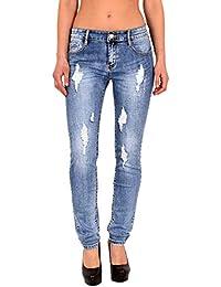 8bf53dfb588c53 ESRA Damen Röhrenjeans Skinny Jeans Destroyed Jeanshose bis Übergröße ...