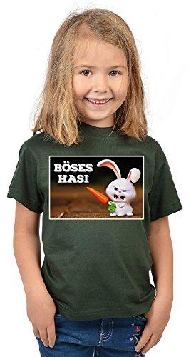 Kinder T-Shirt mit Lustigem Oster Motiv - Osterhasen Kinder-Shirt : Böses Hasi - Witziges Tshirt Fürs Osternest Mädchen/Jungen Gr: XS = 110-116