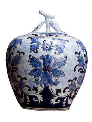 -Dekoration Chinesische Jingdezhen, blau-weiß, Porzellan, Dekoration mit Deckel, Keramik, kleine Vase, Wohnzimmer, Bastel-Dekoration ()