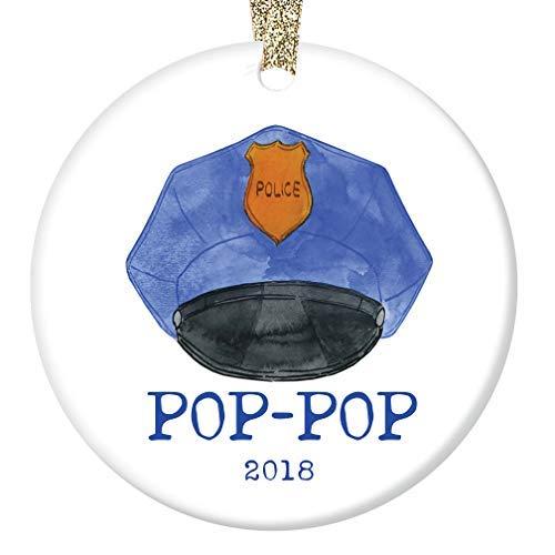 qidushop Pop-Pop Weihnachten 2018 Ornament Geschenk Männlicher Polizist Opa Opa Offizier von Enkel Ehemann Frau Männer Porzellan Geschenk (Polizisten Für Geschenk-ideen)