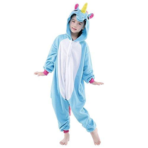Ensemble de Pyjama Grenouillère Costume Cosplay Onesie Animaux en Flanelle Fille Garçon Cadeau Noel (Hauteur 140-150cm(Etiquette Tailleur125), Bleu Unicorn) ef8302a5-bf59-43e6-8f67-58b53348f2a5