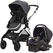 Evenflo Pivot Xpand Modular Travel System with SafeMax Infant Car Seat, Single-to-Double Convertible Baby Stro