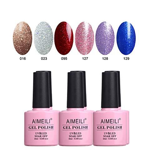 AIMEILI Set Smalto Semipermente in Gel UV LED per Manicure Smalti per Unghie Soak Off Colorati Set 6 x 10 ml - Set Numero 29