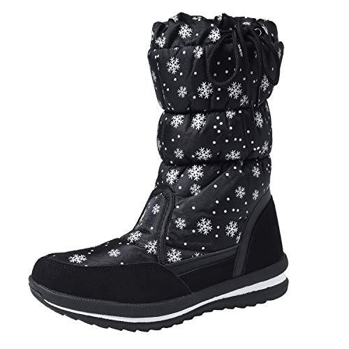 buy popular 17d56 050a2 Shenji Scarpe Donna Invernali - Stivali da Neve A Mezza Gamba  Antisdrucciolo H20612 Nero 41