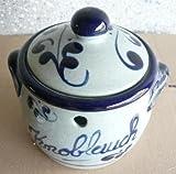 Knoblauchtopf aus Keramik grau-blau Inhalt: 0,5 ltr