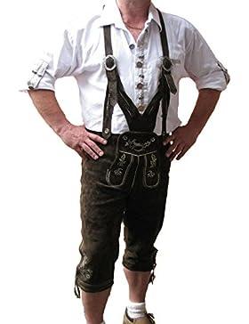 Bangla 1522 Herren Trachten Lederhose Kniebund Wildleder Oktoberfest braun V-Träger 48-68