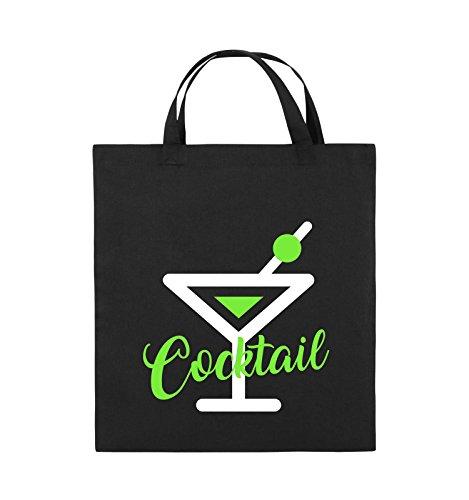 Comedy Bags - Cocktail - GLAS - Jutebeutel - kurze Henkel - 38x42cm - Farbe: Schwarz / Weiss-Neongrün Schwarz / Weiss-Neongrün