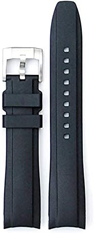Curved End Rubber Watchband w/Buckle fit for Rolex Sports Models