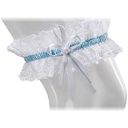 Liga elástica clásica - tono blanco y cinta azul