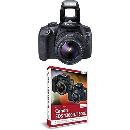 Canon EOS 1300D Digitale Spiegelreflexkamera Kit inkl. EF-S 18-55mm IS Objektiv schwarz + Canon EOS 1200D / 1300D Handbuch