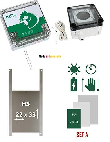 AXT-Electronic Set A - Pförtner VSD mit Batterien, Digitale Zeitschaltuhr, manuelle Steuerung, Außenmontage, Hühner