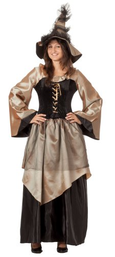R-Dessous hochwertiges Hexenkostüm und Hut Zauberin Feen Mittelalter Damen Kostüm Halloween Outfit Karneval Groesse: - Coole Kostüm Für Karneval