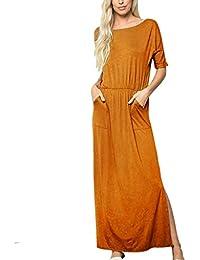 bd3b92e0e9d Anglewolf Womens Casual Roll Up Sleeve Button Down Maxi Shirt Dress Women  Oversized Long Tunic Plus