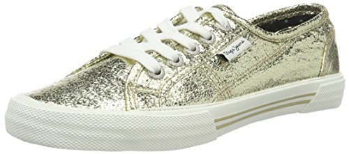 Pepe Jeans London Aberlady Crackle, Sneaker Basse Donna Oro (Or (099Gold))