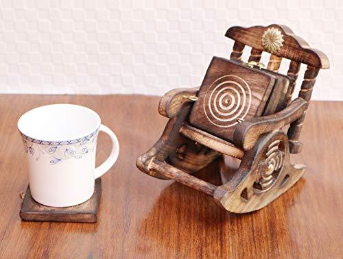 Worthy Shoppee Wooden Antique Beautiful Miniature Rocking Chair Design Tea Coffee Coaster Set