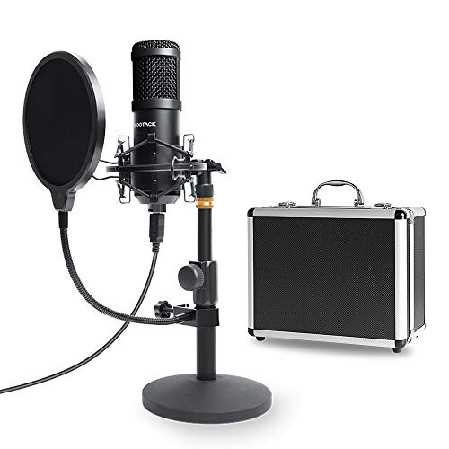USB Mikrofon Kit mit Aufbewahrungskoffer aus Aluminium, SUDOTACK professionelles Mikrofon 96KHZ / 24Bit PC Mikrofon mit Soundkarte Boom Arm Shock Mount Pop-Filter für Rundfunk, Youtube,Podcasts uvm