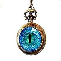xinzhahi Blue Dragon Eye Stud Pocket Watch Necklace, Animal Eye Cat Eye Stud