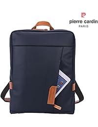Pierre Cardin Casual mochila para portátil 14 pulgadas impermeable lienzo recubierto y bolso de hombro de cuero genuino bolso hasta 14 pulgadas, Marino Oscuro y Marrón