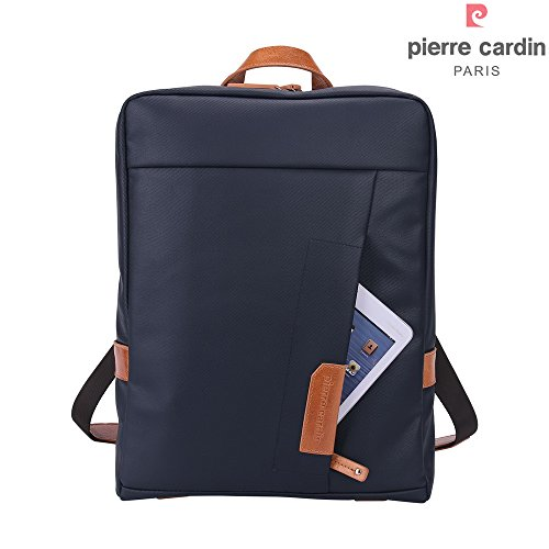 pierre-cardin-casual-laptop-backpack-14-inch-waterproof-coated-canvas-and-genuine-leather-shoulder-b