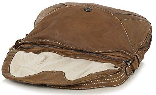 FredsBruder Vision Borsa a tracolla Satchel, in morbida pelle vintage (32x 27x 5cm) Caramel (Marrone)