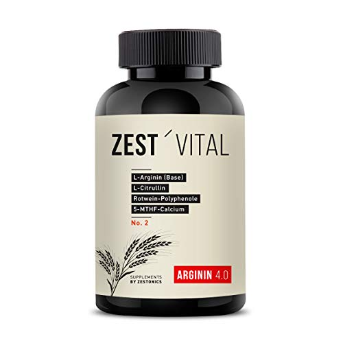 zest\'vital Arginin 4.0: Arginin Base + Citrullin + Rotwein-Polyphenole + Curcuma + Q10-240 Kapseln