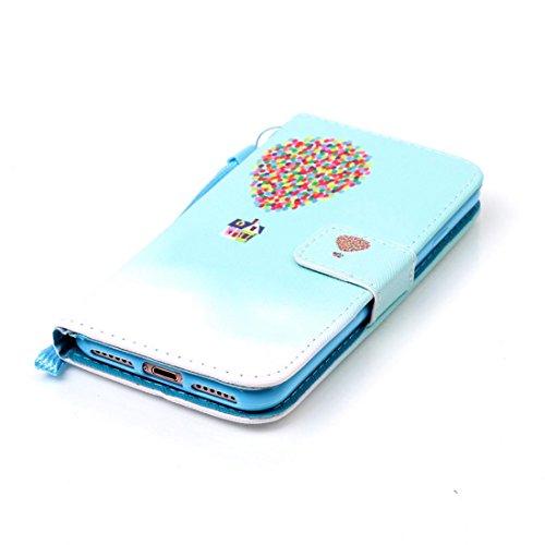 iPhone 7 Coque, Noir Cuir iPhone 7 Etui Rabat Style Prime Portefeuille Case Avec Carte Slots pour Apple iPhone 7 4.7 inch Avec Don't Touch My Phone Motif Image bleu