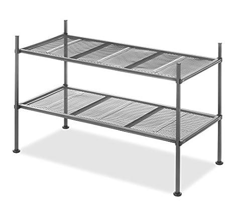 Whitmor Gunmetal 2-Tier Mesh Shelves