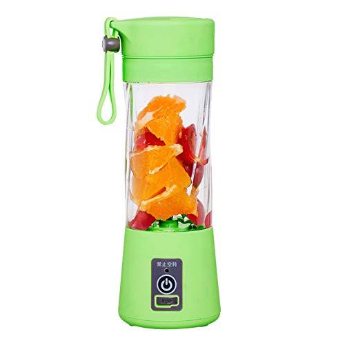 HshDUti 380ml Elektrische Mini Fruchtpresse Tasse Grinder Crusher USB Smoothie Maker Mixer Shaker Flasche Green (Schleifer Für Weed Green)