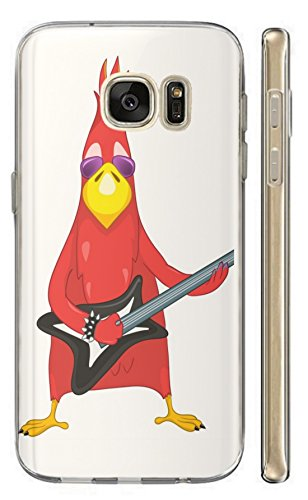 Samsung Galaxy Xcover 4 Hülle Softcase TPU Hülle für Samsung Galaxy Xcover 4 Cover Backkover Schutzhülle Slim Case (1009 Vogel Bird rot mit Gitarre Cool Rock Angry)