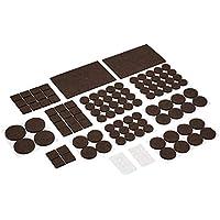 AmazonBasics - Möbelgleiter aus Filz, Braun und Transparent, 136-teiliges Set