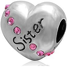 Soulbead Abalorio para hermana de plata de ley 925, diseño de corazón con cristales, compatible con la mayoría de pulseras de abalorios europeas