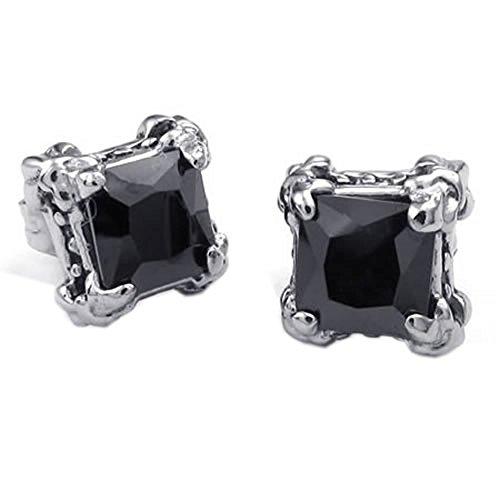 KONOV Schmuck Herren-Ohrringe, Gotik Drachen Klaue Quadrat Ohrstecker, Zirkonia Diamant Edelstahl, Schwarz Silber (Quadrat Diamant-ohrringe)