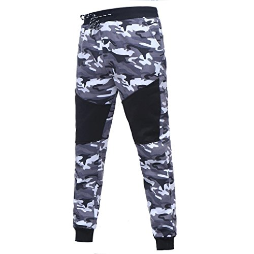 Herren Laufhose/ Herren Jogginghose,Bovake Herren Outdoor Camouflage Schwarz Spleißen {Drawstring Hosen Hosen} (Black, 3XL) (Legging Heatgear Fit Compression)