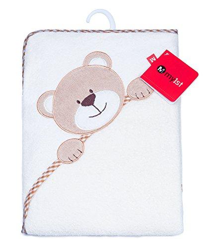 Baby Badehandtuch mit Kapuze in weicher Baumwolle - Baby Kapuzenhandtuch - Warm und kuschliger Baby Poncho mit OEKO-TEX® Zertifikat - 100x100cm - Bär