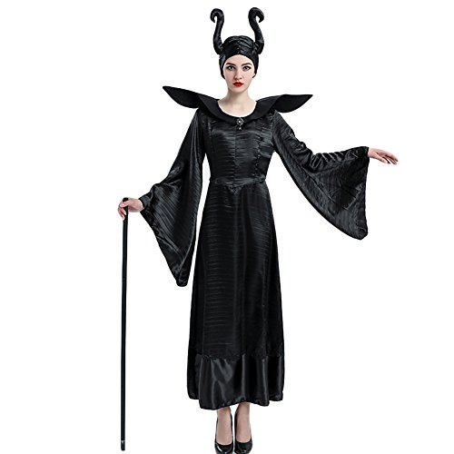 Hallowmax Deguisement Halloween Femme Costume démon Cosplay sorcière,Robe Noir