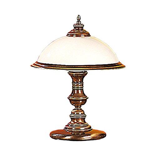 Messing Tischlampe rund 45cm Jugendstil filigran Lampe Tisch Glas Tischleuchte Nachttischlampe