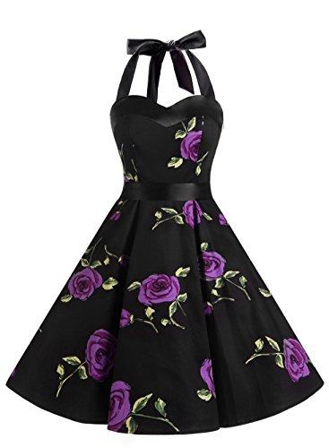 DRESSTELLS Version3.0 Vintage 1950's Audrey Hepburn pin-up Robe de soirée Cocktail Style Halter années 50 à Pois, Fleur Violette XS