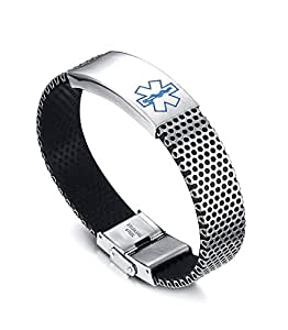 LianDuo Mens Womens Stainless Steel Silicone Medical Alert ...