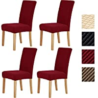 Sonnis Pack of 4 Stretch Chair Covers,Chair Slipcovers Washable Removable Seat Covers Elastic Protector Chairs Covers for Hotel Restaurant Wedding Party Home Dining Room