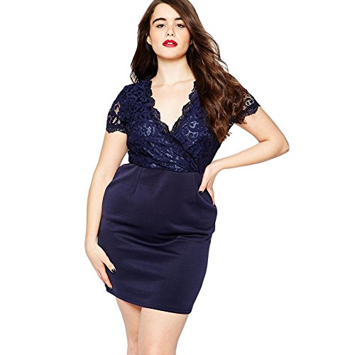 meinice Navy smerlato in pizzo plus size vestito Blue X-Large