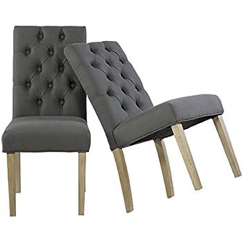 esszimmerstuhl 2er set vintage k chenst hle st hle mit polsterung stoff in grau mit kn pfen. Black Bedroom Furniture Sets. Home Design Ideas